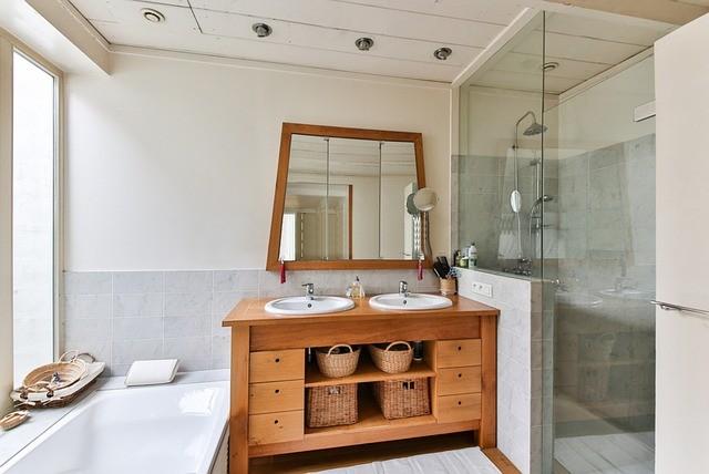 Отделка ванной в деревянном доме, мебель для ванной