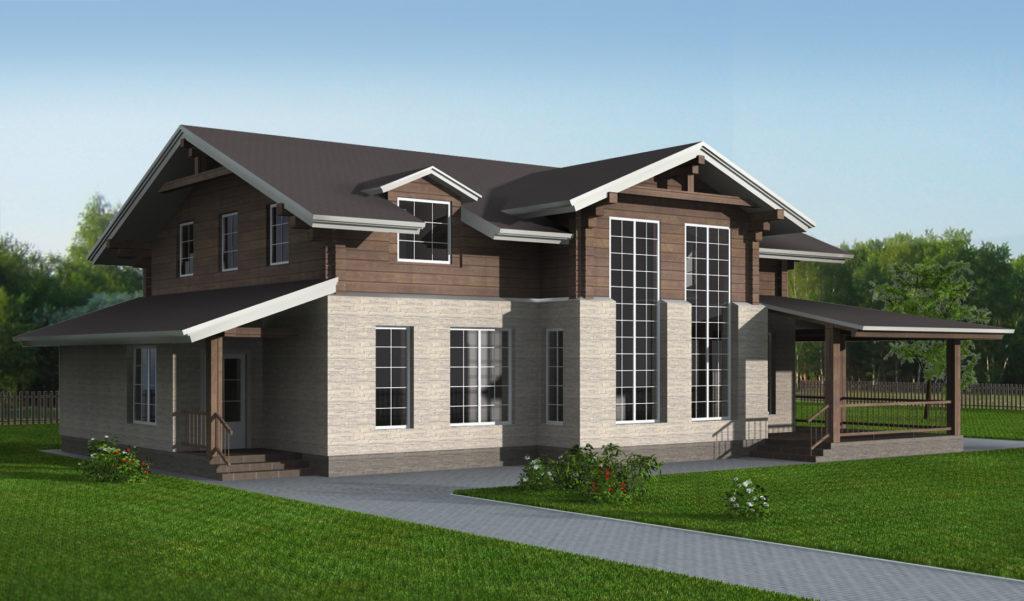 Пример проекта: жилой дом с мансардой комибинированного исполнения 230 кв.м.