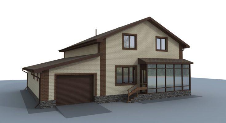 Проект индивидуального жилого дома с мансардой 200 кв.м.